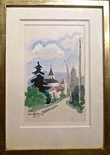 C. Herveau aquarelle sur papier original paysage signée 1953