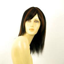 perruque femme 100% cheveux naturel mi-long méchée noir/cuivré MARIA 1b30
