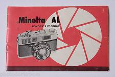 Minolta Al Film Camera- Japan - Instruction Manual Book - English - Used B3