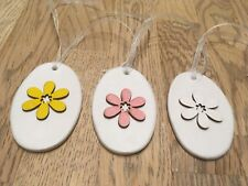 Handmade Set Of 3 Clay and Wood Spring Flower Hanging Gift Tags/Decorations