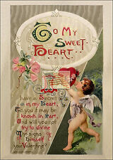 REPRINT PICTURE of old 1910 postcard VALENTINE TO MY SWEET HEART 5x7