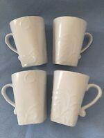 "4 - Corelle Coordinates Cherish Cups Mugs White Squared Bottom Coffee Tea 4-1/2"""