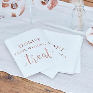 White & Rose Gold Donut Leave Without a Treat Wedding / Party Bags, - Pack of 20