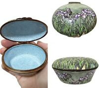 Vintage Antique Chinese Cloisonne Enamel Covered Dish Trinket Box w-Lid Flowers