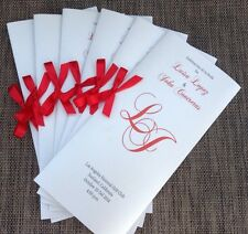 Set of 50 Custom Metallic Silver And Red Bifold Wedding Program