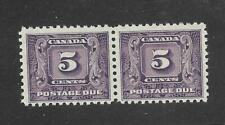 Canada 1930-1932: J9i Postage Due pair, dull violet variety, MNH