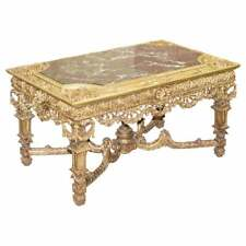 LARGE IMPORTANT 19TH CENTURY CONTINETAL CARVED GILTWOOD AND MARBLE CENTRE TABLE