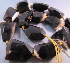 Yellow/ Black Agate Faceted Flat Beads 12pcs