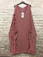 Moonshine Fashion Kleid Tunika Streifen Lagenlook Übergröße 48 50 52 Neu rot