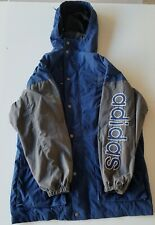 Vintage Adidas jacket Size M 90s Spell Out Sleeve Parka Coat Gray/Blue Trefoil