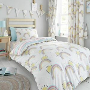 HLC Girls Kids Rainbows Sunshine Stripes White Duvet Cover Curtains Bunting