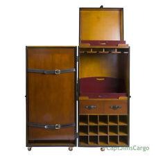 "Grand Club Trunk Bar Black 50"" Nautical Steamer Travel Wooden Furniture New"