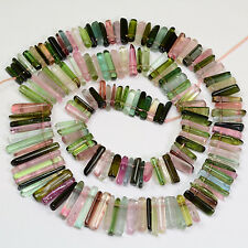 197.7CT Blue Green Pink Smooth Old Stock Tourmaline Crystal Bead 15.5 inch str