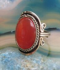Ring Alpaka Silber Cat Eye Katzenauge orange Ethno Inka Maya Indianer 006