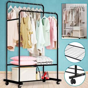 Metal Clothes Double Rail Rolling Garment Heavy Duty Hanging Rack Shelf Display