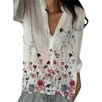 Women's Beach Boho Floral Long Sleeve T-Shirts Ladies V-Neck Casual Blouse Tops
