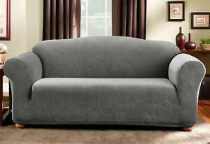 Sure Fit Stretch pin Stripe 1-Piece Sofa Slipcover Madison black new  gray