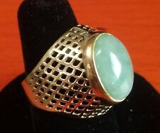 Chinese Vintage 14k Solitaire Ring Set Nature Light Green Jadeite Jade Size 9