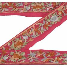 Sanskriti Vintage Hand Embroidere Parsee Sari Border 2Yd Craft Pink Trim Lace