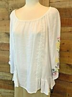 New~$48~ZAC & RACHEL Women's Large/XL White-Floral Lace 3/4-Sleeve Shirt Blouse