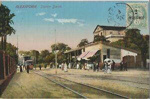 1923 EGYPT POST OFFICE FRANCE LEVANT ON POSTCARD COVER ALEXANDRIA BACOS STATION