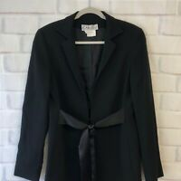 Carlisle Womens Black Wool Blazer Silk Belt Jacket Size 10