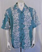Aloha Joe Hawaiian  Large Short Sleeve Floral Print   Pastel Green Shirt