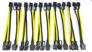 10x PCI-E 8pin to dual 6+2pin PCIE PCI express GPU power adapter splitter cable