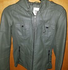 NWT Guess Womens XS Tatum Faux Leather Bomber Jacket w/ Hood Olive Green Zip Up