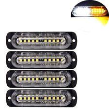 4Pcs 10-LED Strobe Lights Emergency Flashing Warning Beacon Amber/White 12V 24V