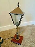 Antique Early 20th Century Brass & Glass Table Lamp in Street Light Form on Oak