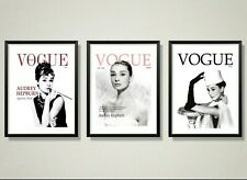SET OF 3 VOGUE PRINTS - AUDREY HEPBURN VOGUE COVER FASHION ART PRINTS