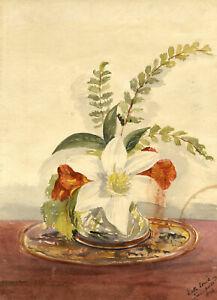 M. Conway, Flower Still Life at Heath House, Tean, Staffs – 1876 watercolour