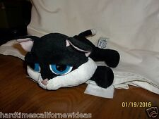 Russ Berrie Lil Peepers Black Off White Coal Cat Plush Big Blue Eyes 8""