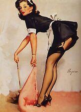 "Elvgren Maid Sweep Retro Pinup Girl QUALITY PRINT Poster Decor Vintage 24X32"""