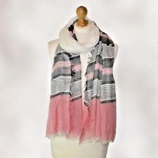 WHOLESALE JOB LOT ladies large stripey scarf pashmina wrap shawl pink white £1.5