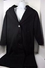 Jones New York Womens Wool Button Front Black Long Winter Jacket Size Medium