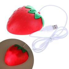 USB 3D Wired Optical Mouse Cute Strawberry Mice 1000 DPI For PC Laptop Comp hv2n