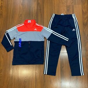 adidas Youth Boys Multi-Color Tracksuit TRICOT JACKET PANTS Set Size 7 New