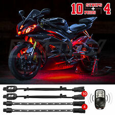 10 Pod 4 Strip 12V Super Bright Motorcycle All Accessories Included - RED