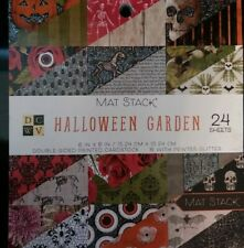 6x6 Scrapbook Paper Halloween Garden Green Witch plant Shop Horror skull eye bat
