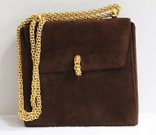 PALOMA PICASSO COUTURE CHOCOLATE BROWN SUEDE SHOULDER BAG WITH GOLD CHAIN STRAP