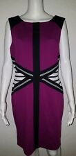 Womens Ivanka Trump Purple Black White Dress Stripes Sz 14