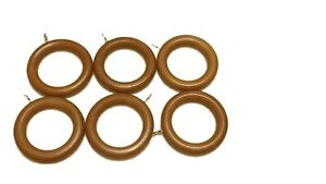 45mm Wooden Curtain Rings with Eyes Hooks in Black, White, Wood, Mahogany, Oak