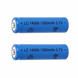 2 PCS LC 14500 1300mAh Battery 3.7 V Blue Rechargeable Powerful Battery UK