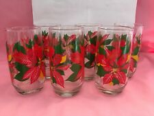 6 Christmas glasses/tumblers vintage poinsettia red, green, yellow 5 inches