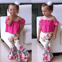 3pcs Toddler Baby Kid Girl Outfits Shirt Tops Floral Pants Clothes Set Summer US