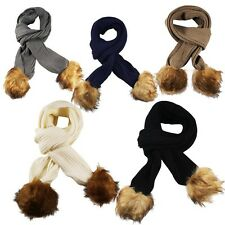 Cable Ribbed Knitted Detachable Faux Fur Bobble Pom Pom Scarf