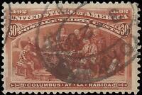 VEGAS - 1893 USA 30c Columbian Sc# 239 - Used - Small Thin Lower Left - EB36