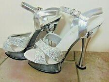 PLEASER Sexy Stripper Exotic Dancer Silver Glitter Platform Ankle Strap Heels 6